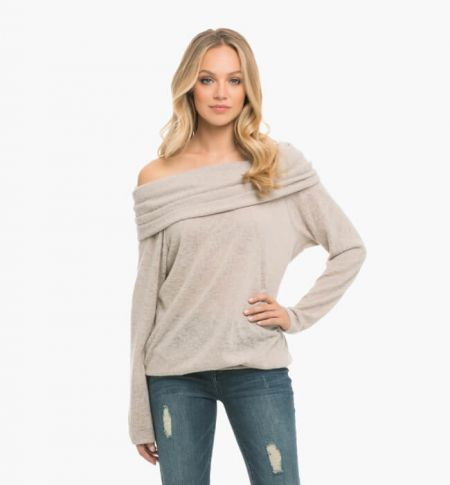 Long Sleeve One Side Off Shoulder T-Shirts